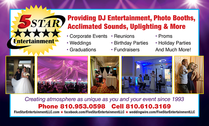Five Star Entertainment, LLC offers Photo Booth rental, Acclimated Sounds DJ, Elegant Uplighting, Corporate AV and PA, wireless Bose audio for up to 2000 people, wireless 1080p HD Video and more...