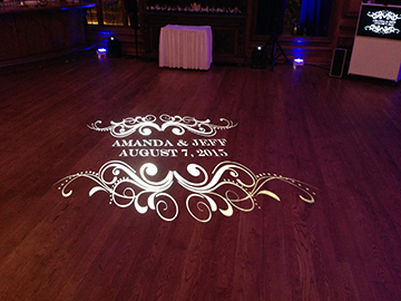 Custom Monogram projected on the dance floor